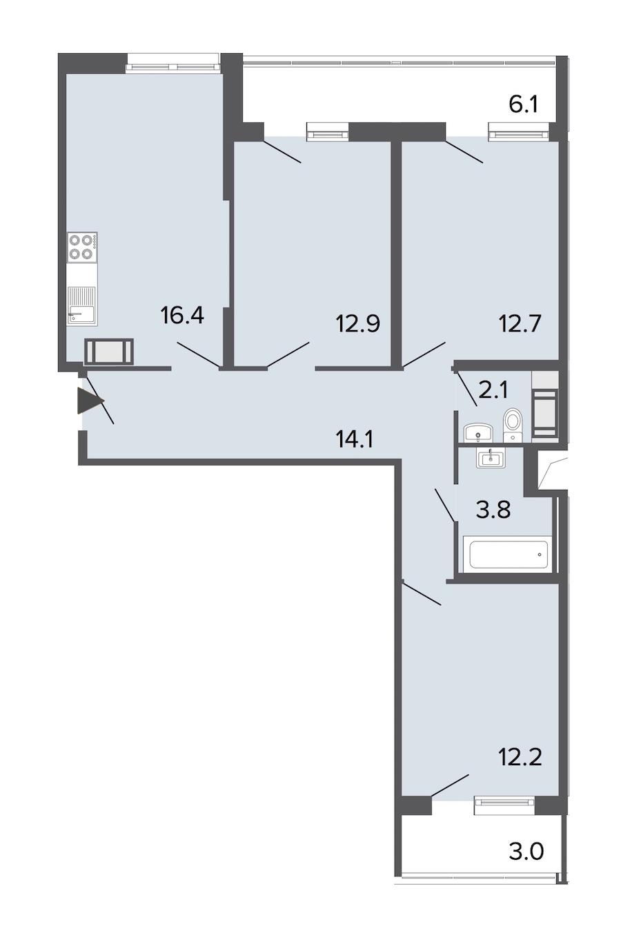 3-комнатная 74 м<sup>2</sup> на 19 этаже