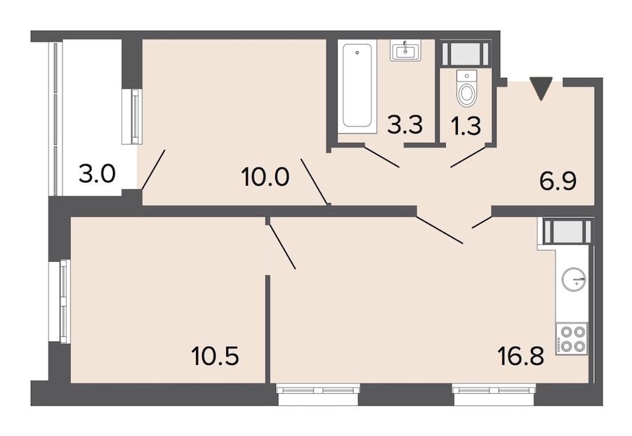 2-комнатная 48 м<sup>2</sup> на 13 этаже