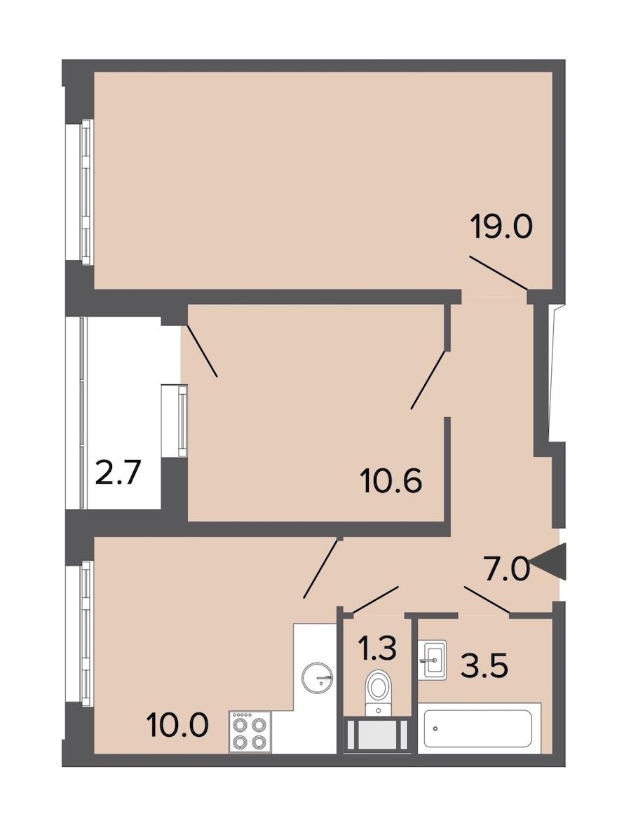 2-комнатная 51 м<sup>2</sup> на 22 этаже