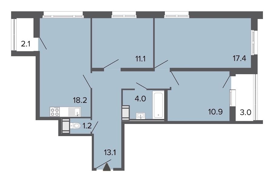 3-комнатная 76 м<sup>2</sup> на 14 этаже
