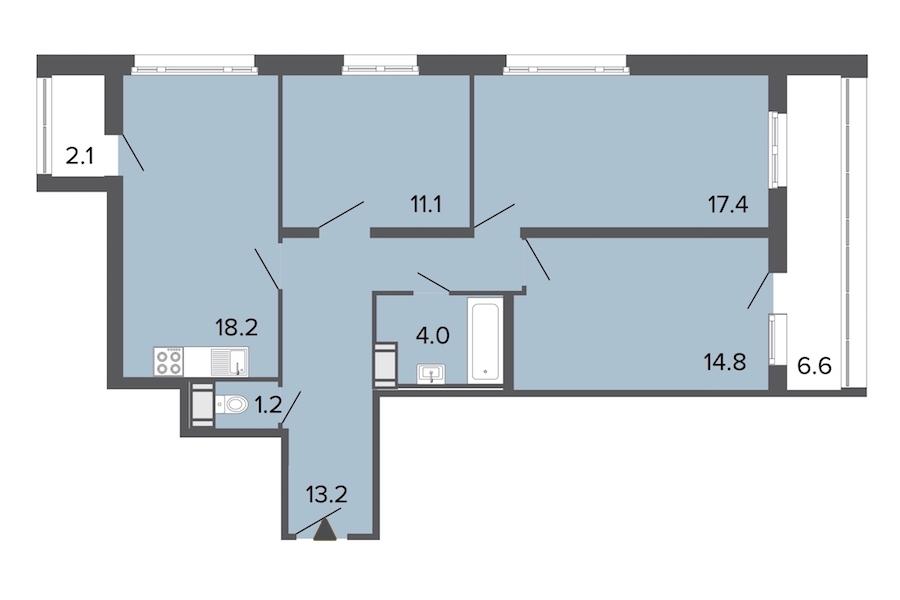 3-комнатная 79 м<sup>2</sup> на 15 этаже