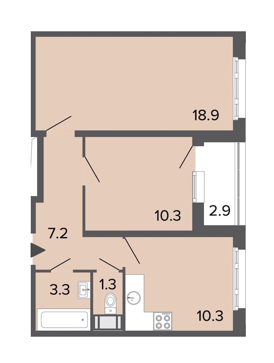 2-комнатная 51 м<sup>2</sup> на 6 этаже