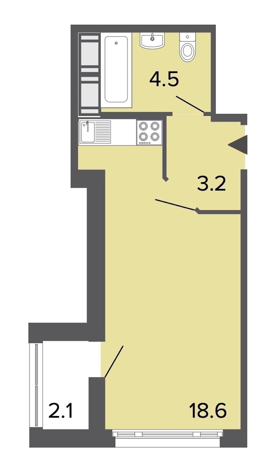 Студия 26 м<sup>2</sup> на 16 этаже