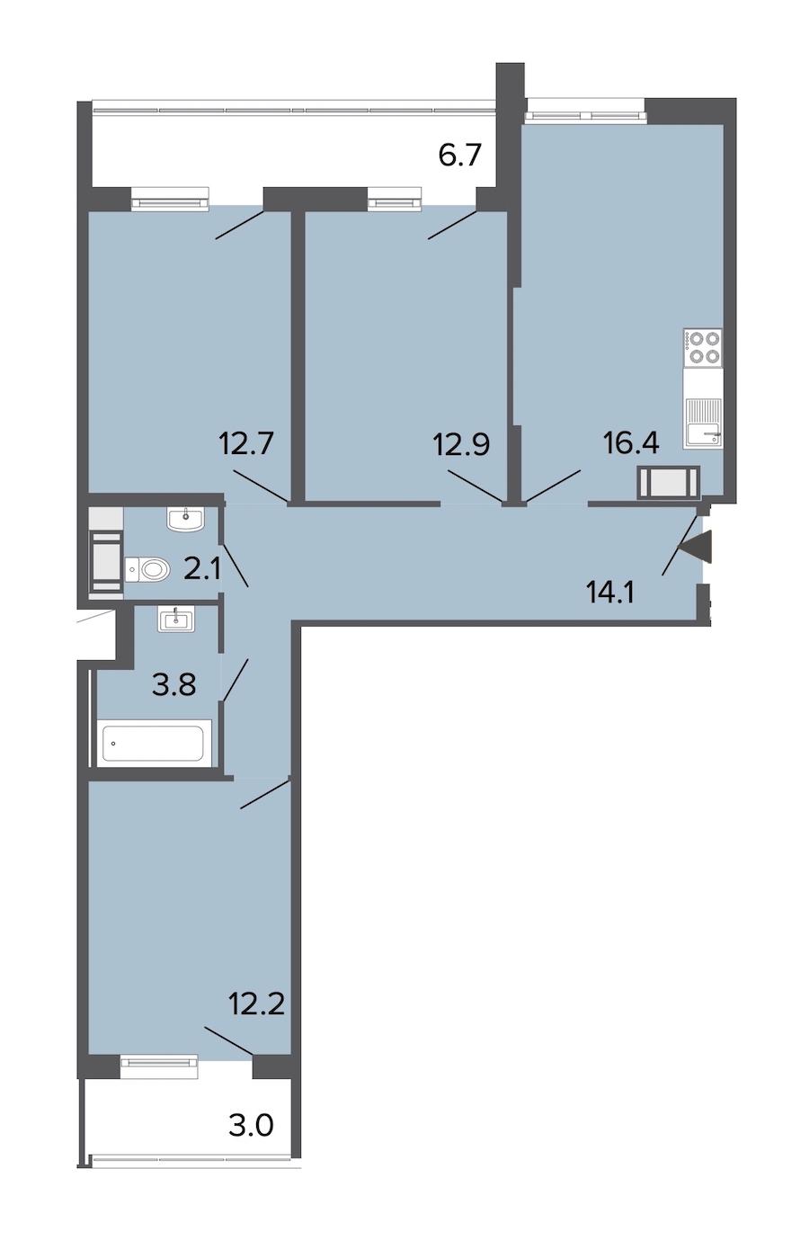 3-комнатная 74 м<sup>2</sup> на 13 этаже
