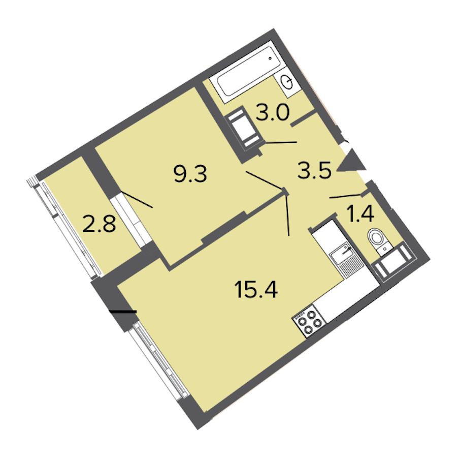 1-комнатная 32 м<sup>2</sup> на 3 этаже