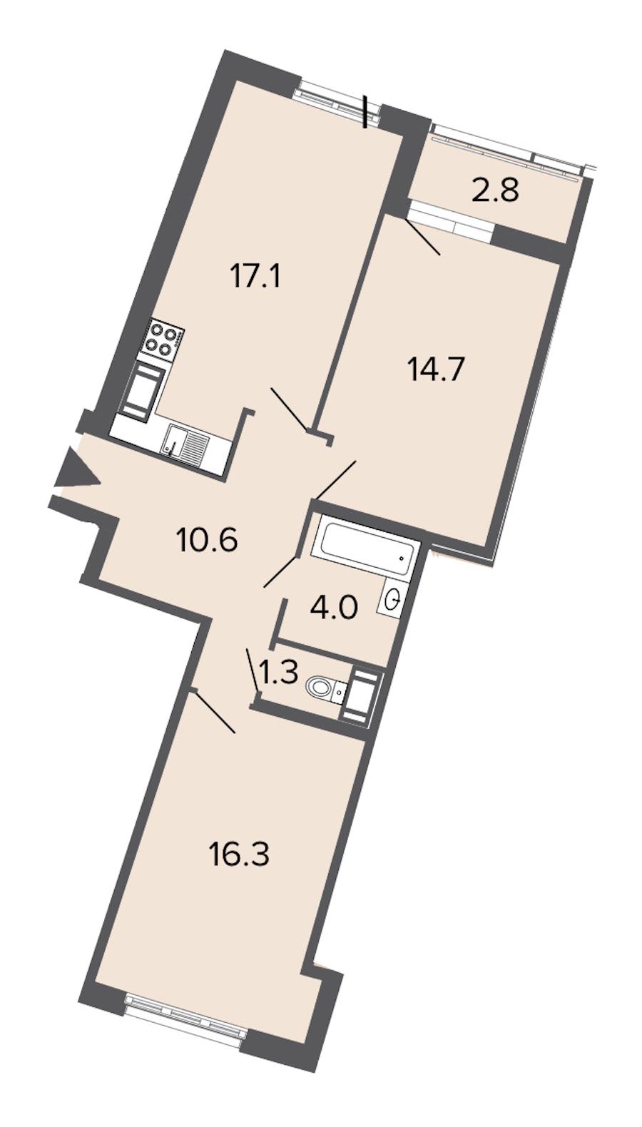 2-комнатная 64 м<sup>2</sup> на 10 этаже