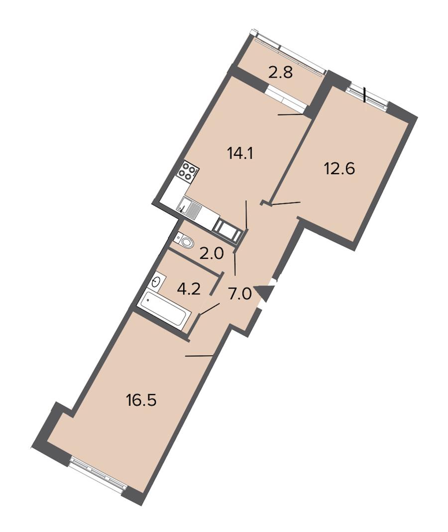 2-комнатная 56 м<sup>2</sup> на 10 этаже