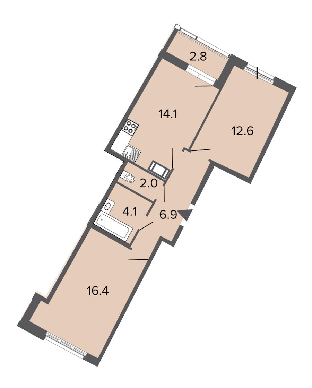 2-комнатная 56 м<sup>2</sup> на 4 этаже