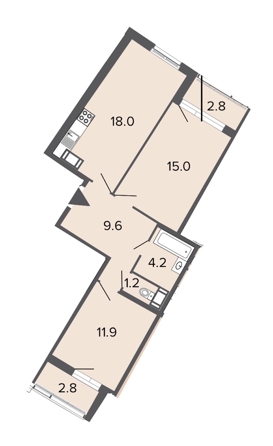 2-комнатная 59 м<sup>2</sup> на 10 этаже