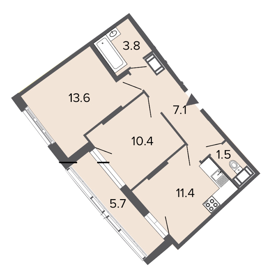 2-комнатная 47 м<sup>2</sup> на 10 этаже