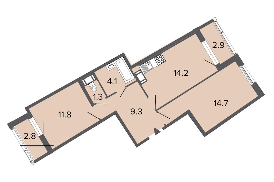 2-комнатная 55 м<sup>2</sup> на 4 этаже