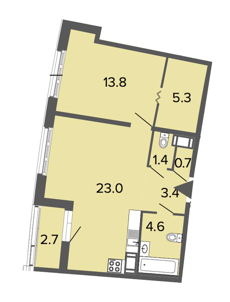 1-комнатная 52 м<sup>2</sup> на 4 этаже