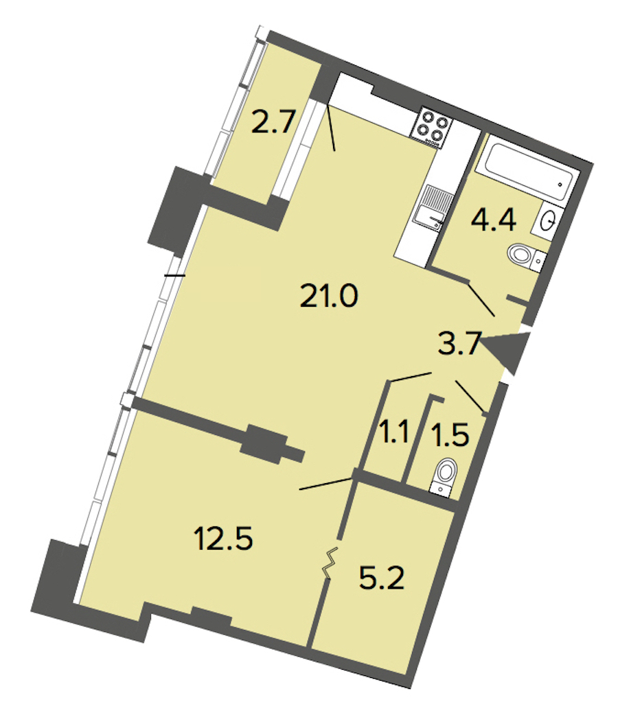 1-комнатная 49 м<sup>2</sup> на 2 этаже