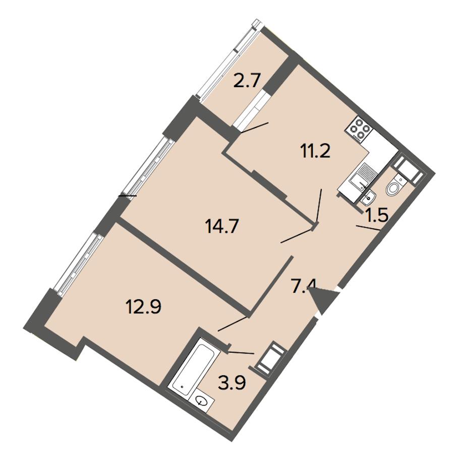2-комнатная 51 м<sup>2</sup> на 3 этаже