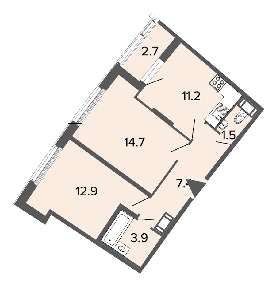 2-комнатная 51 м<sup>2</sup> на 4 этаже