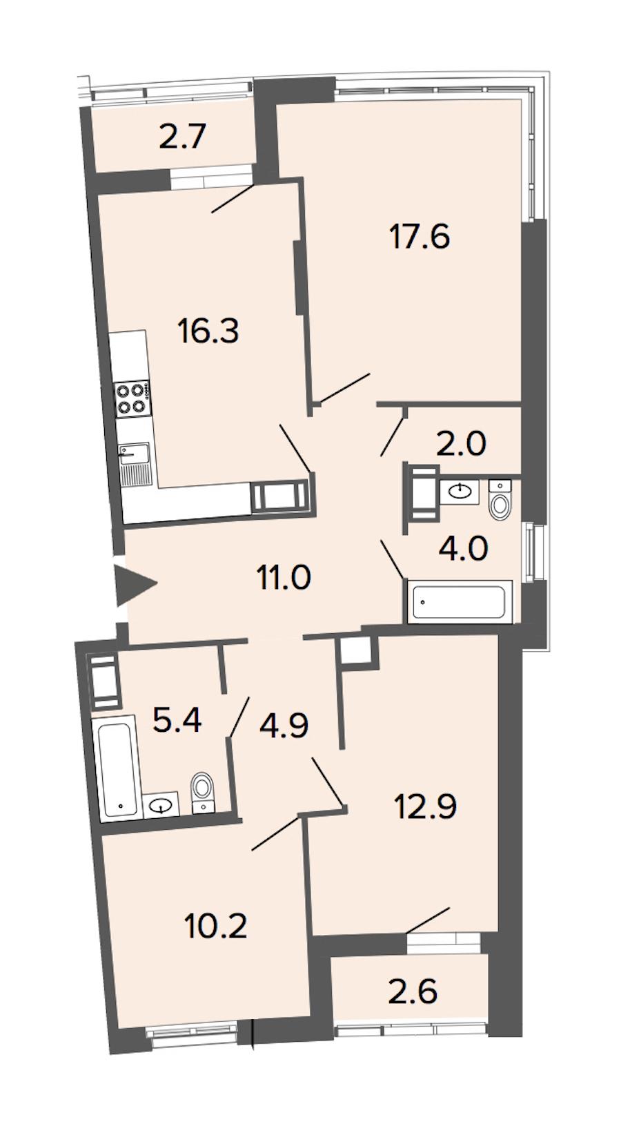 2-комнатная 84 м<sup>2</sup> на 4 этаже