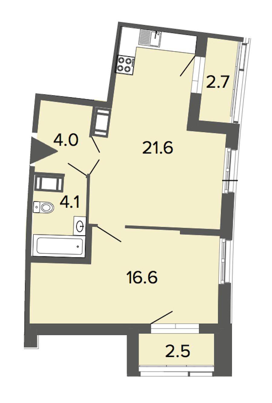 1-комнатная 46 м<sup>2</sup> на 11 этаже