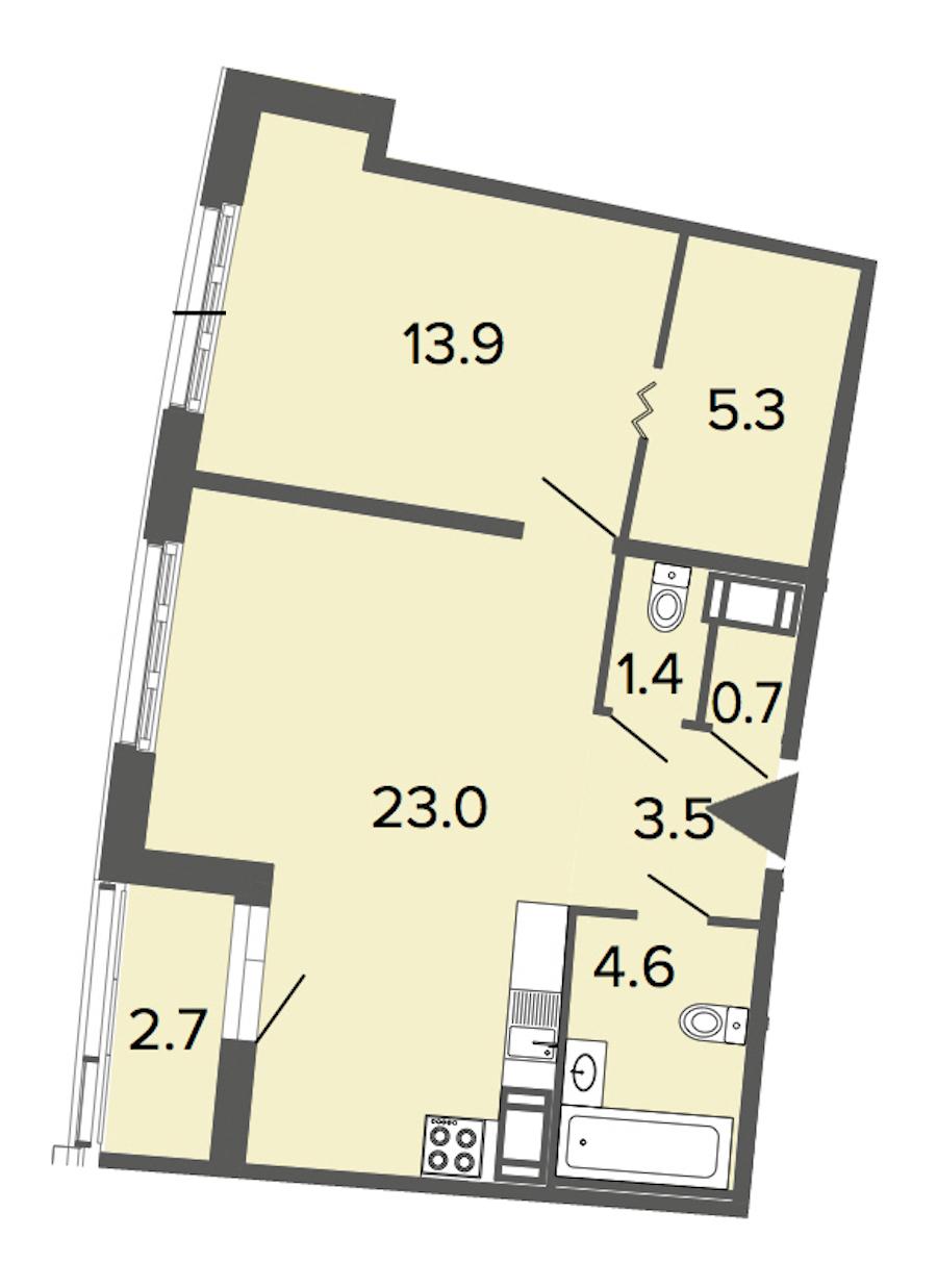 1-комнатная 52 м<sup>2</sup> на 14 этаже