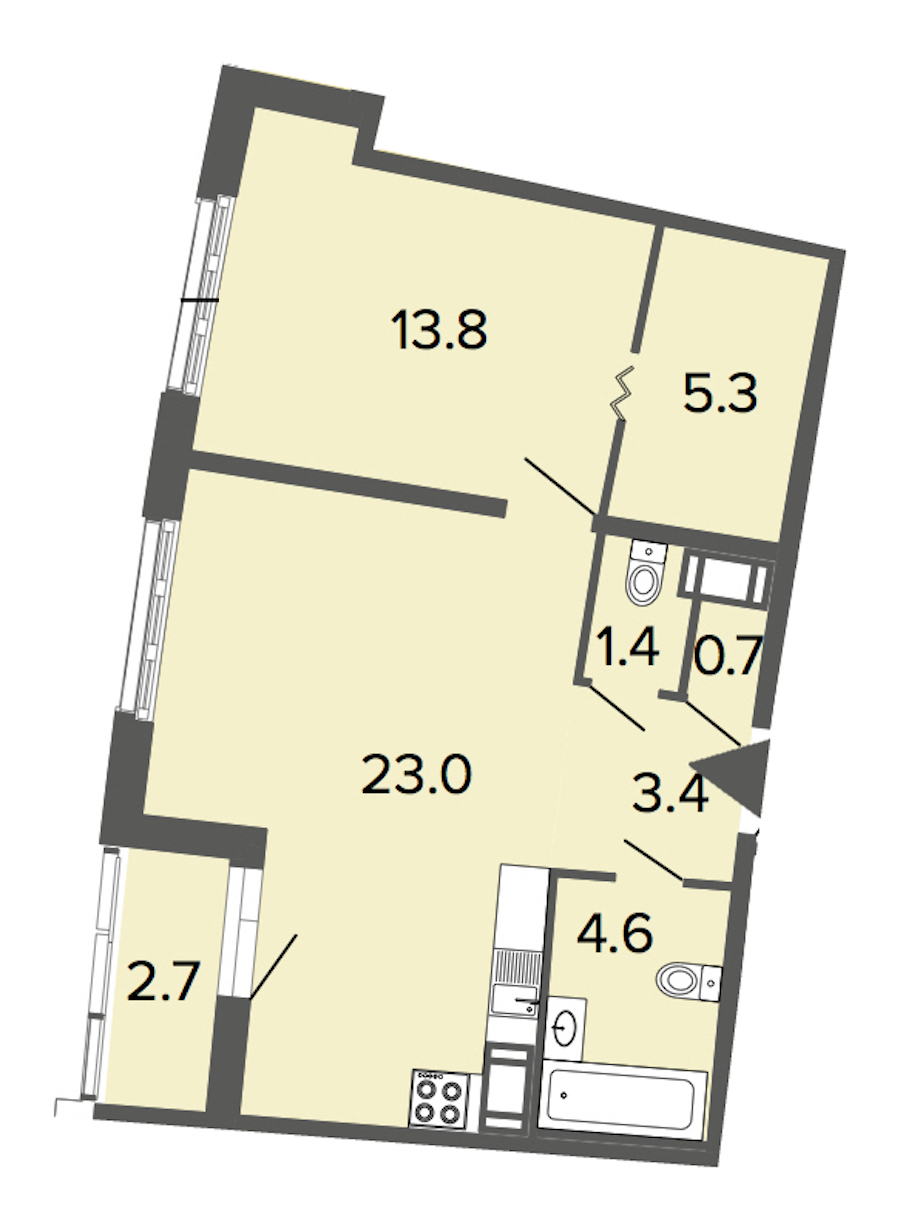 1-комнатная 52 м<sup>2</sup> на 9 этаже