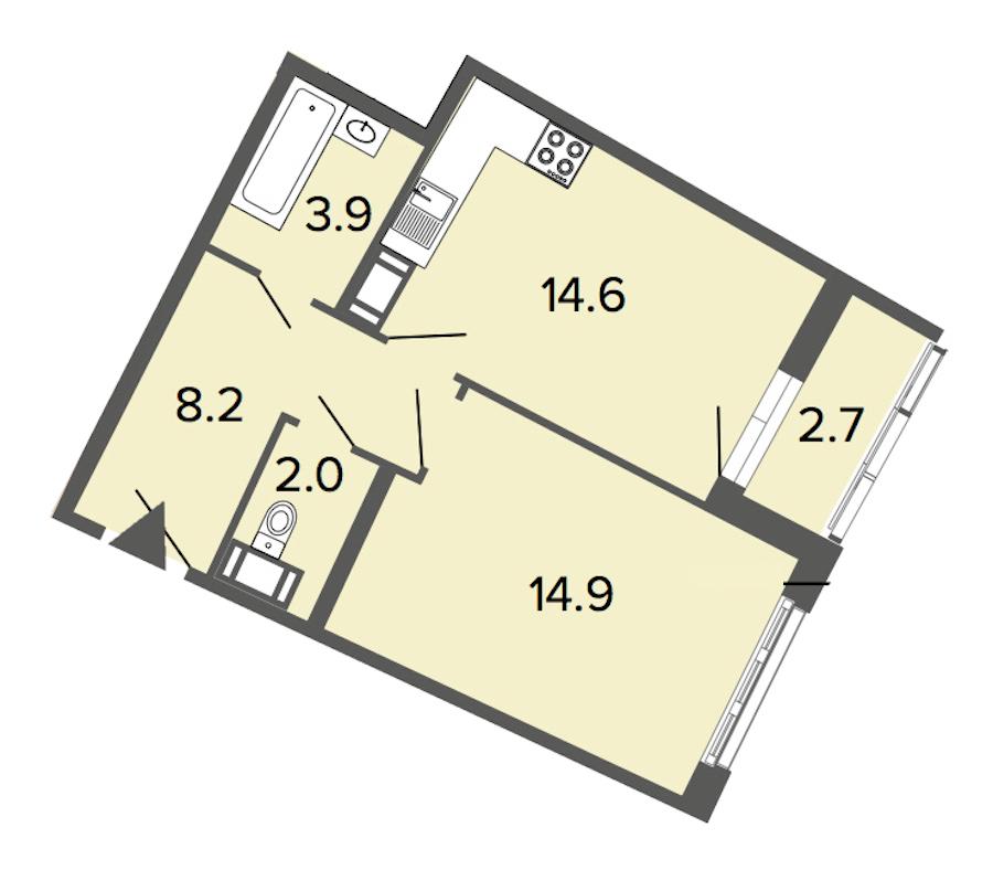 1-комнатная 43 м<sup>2</sup> на 9 этаже