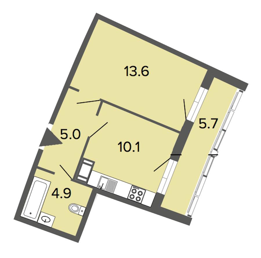 1-комнатная 33 м<sup>2</sup> на 9 этаже