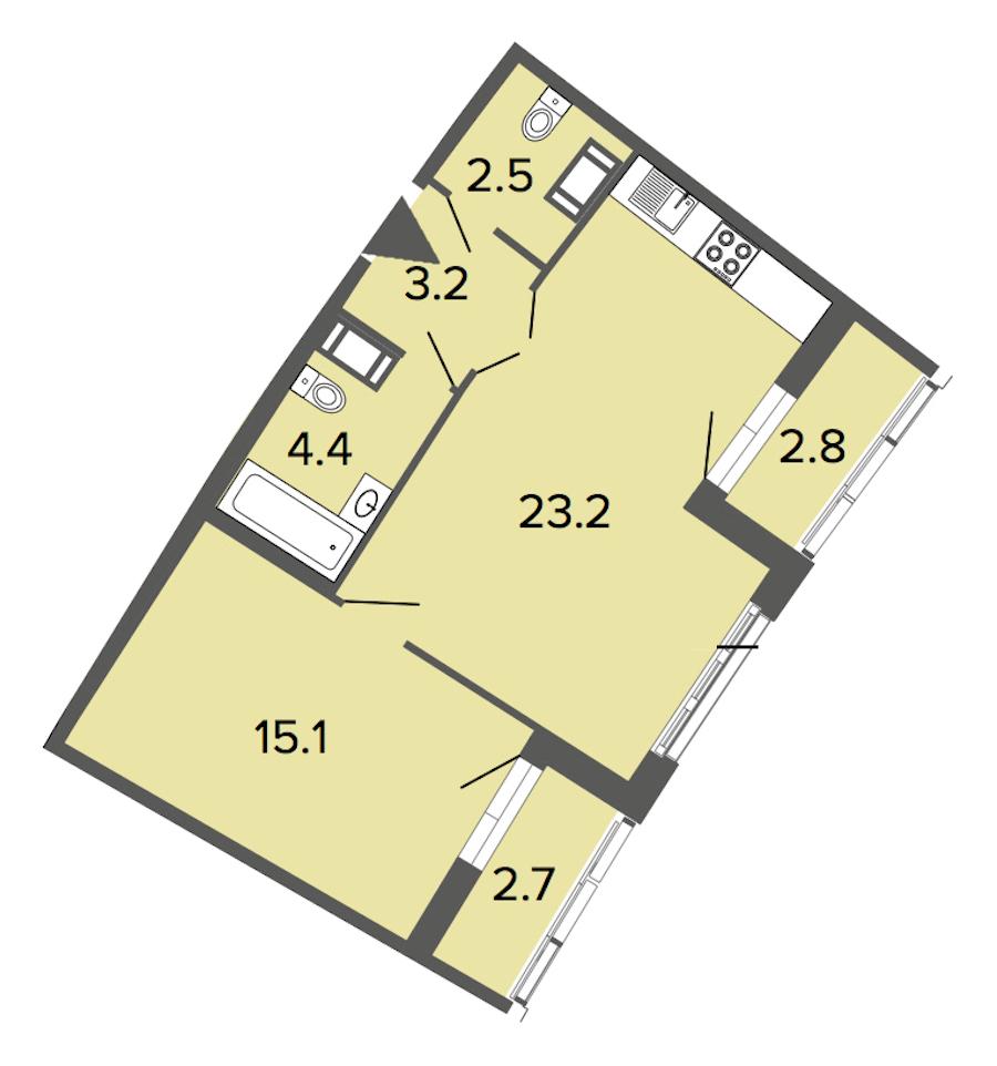 1-комнатная 48 м<sup>2</sup> на 9 этаже