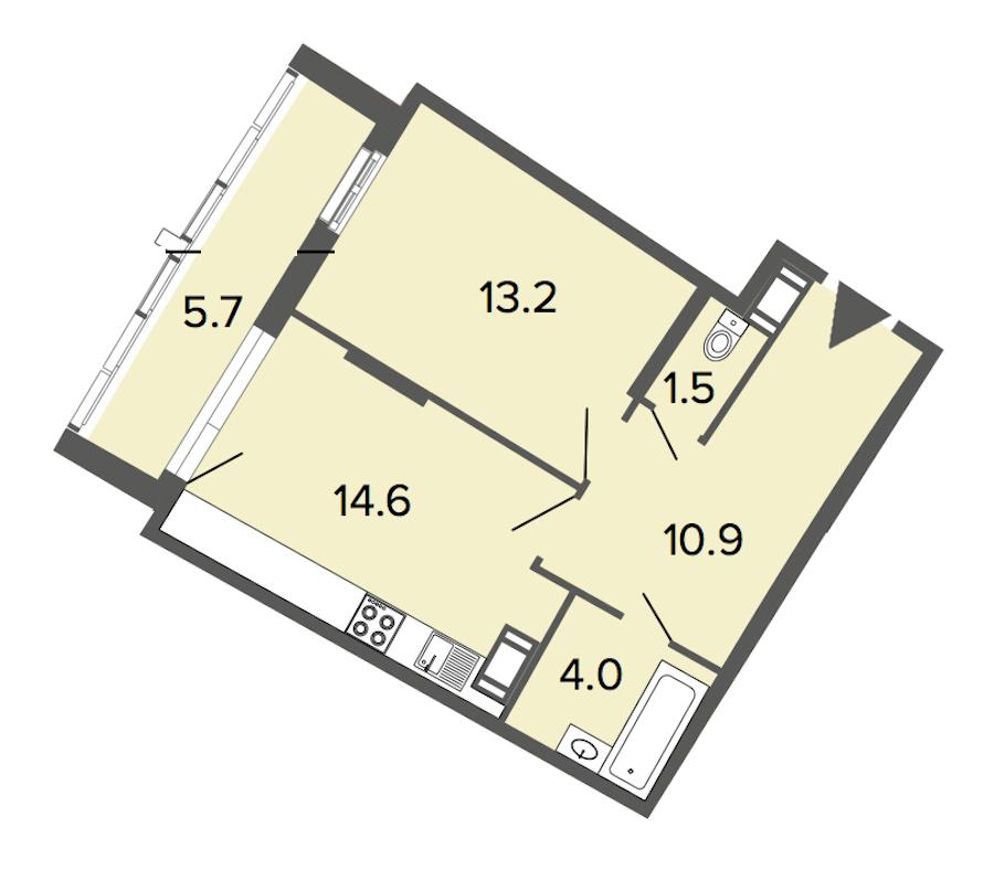 1-комнатная 44 м<sup>2</sup> на 5 этаже