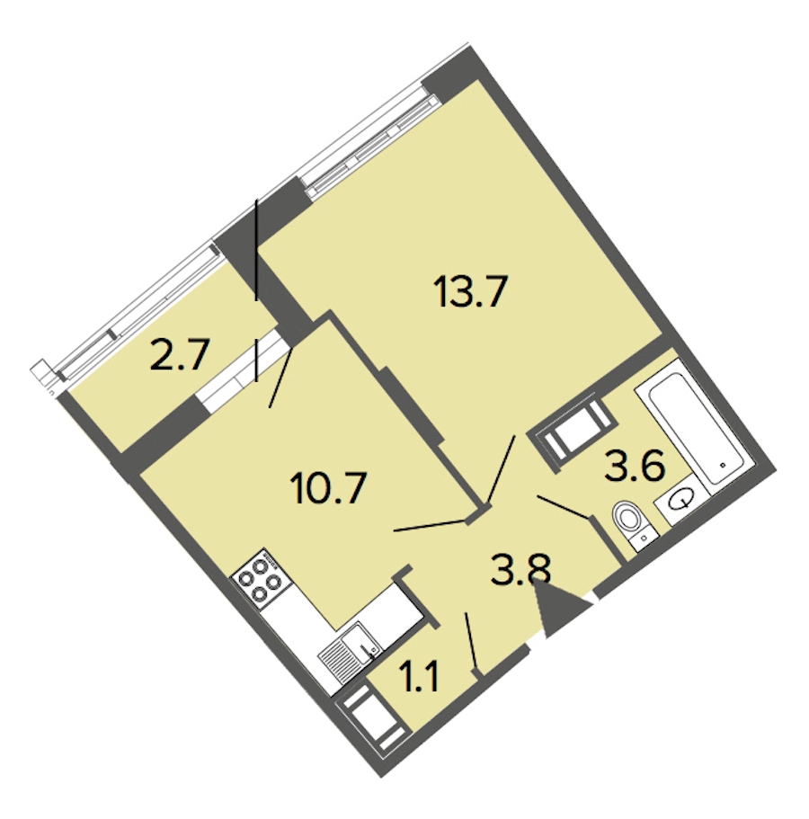 1-комнатная 32 м<sup>2</sup> на 10 этаже