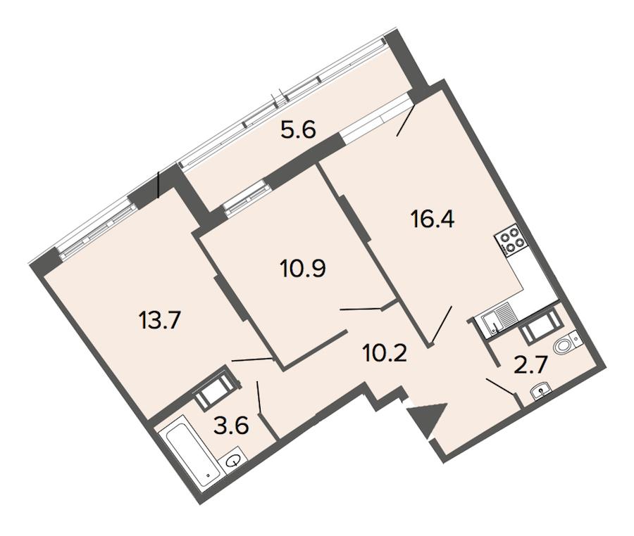 2-комнатная 57 м<sup>2</sup> на 16 этаже