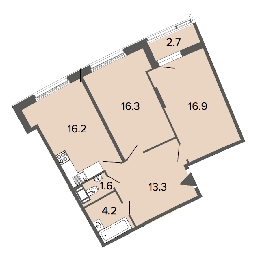 2-комнатная 68 м<sup>2</sup> на 10 этаже