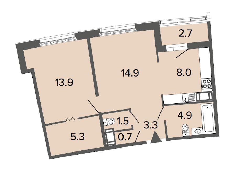 1-комнатная 52 м<sup>2</sup> на 10 этаже