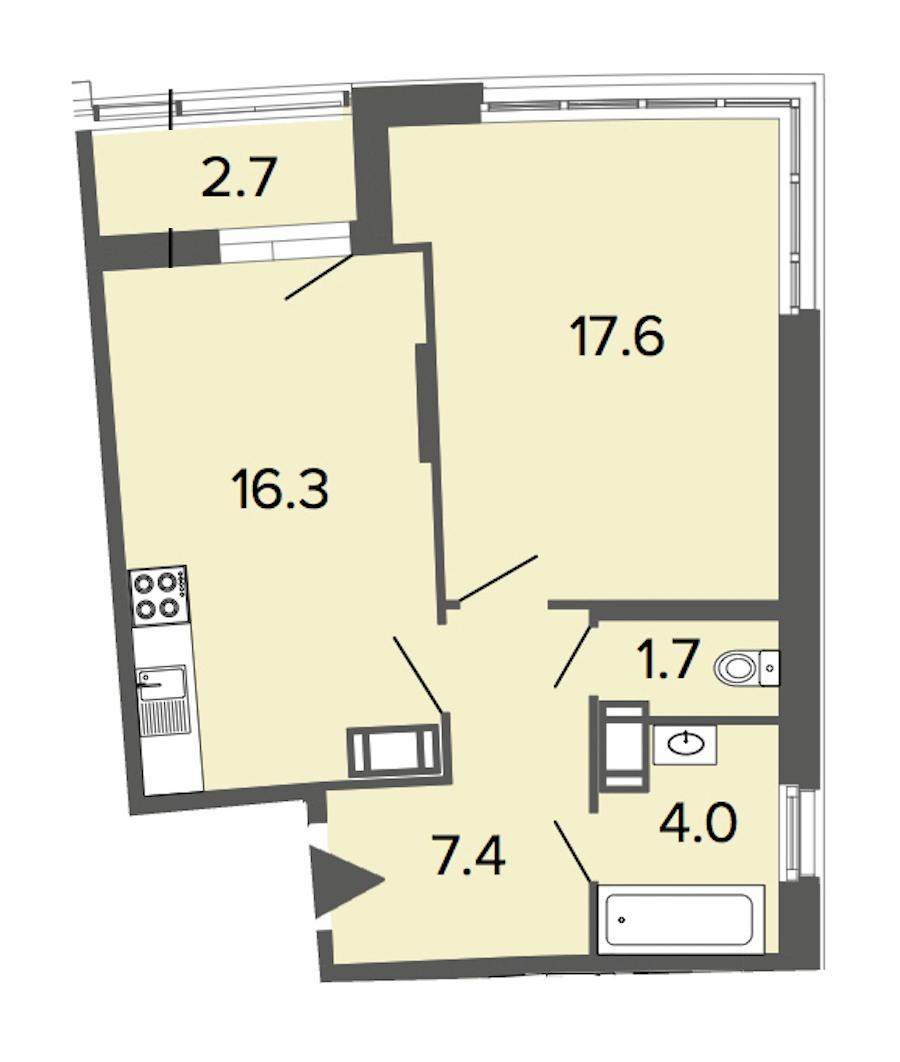 1-комнатная 47 м<sup>2</sup> на 14 этаже