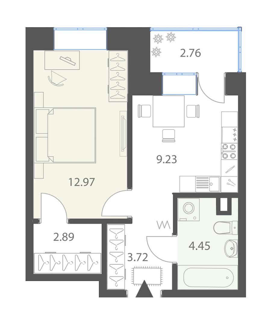 1-комнатная 34 м<sup>2</sup> на 2 этаже