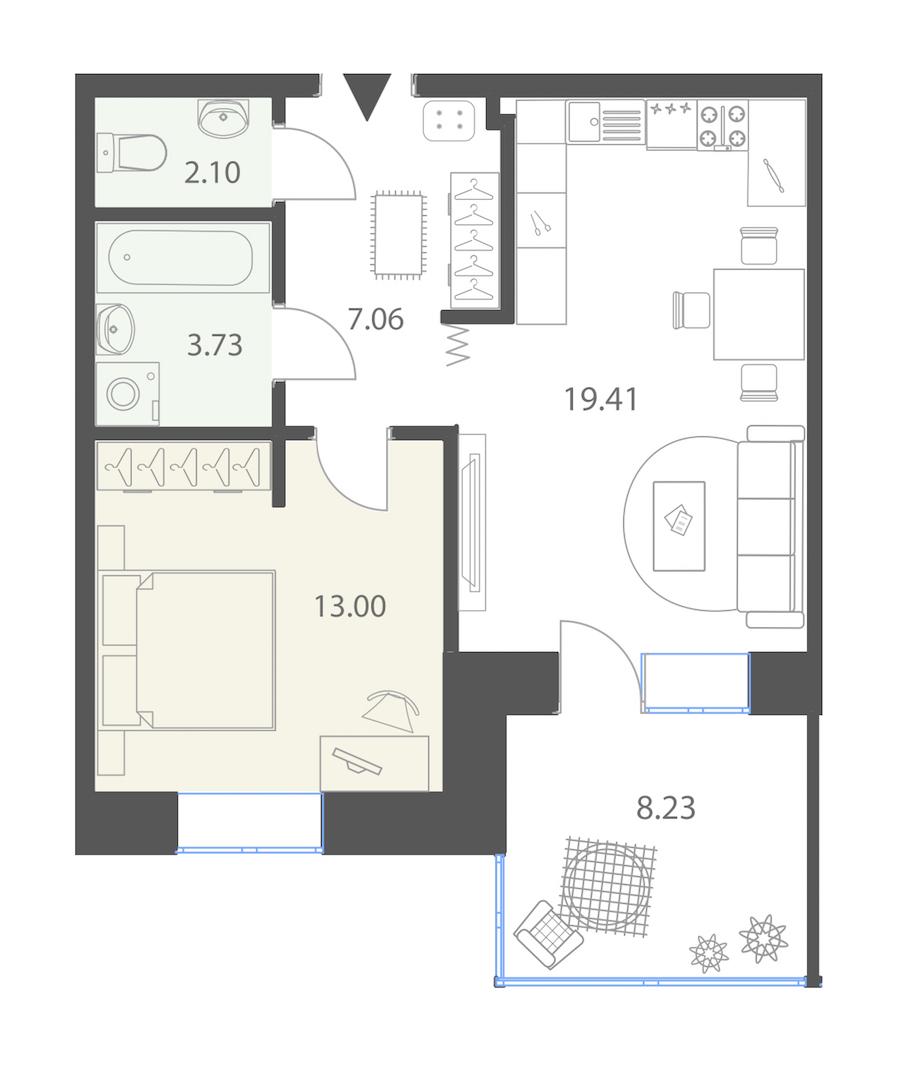 1-комнатная 47 м<sup>2</sup> на 1 этаже