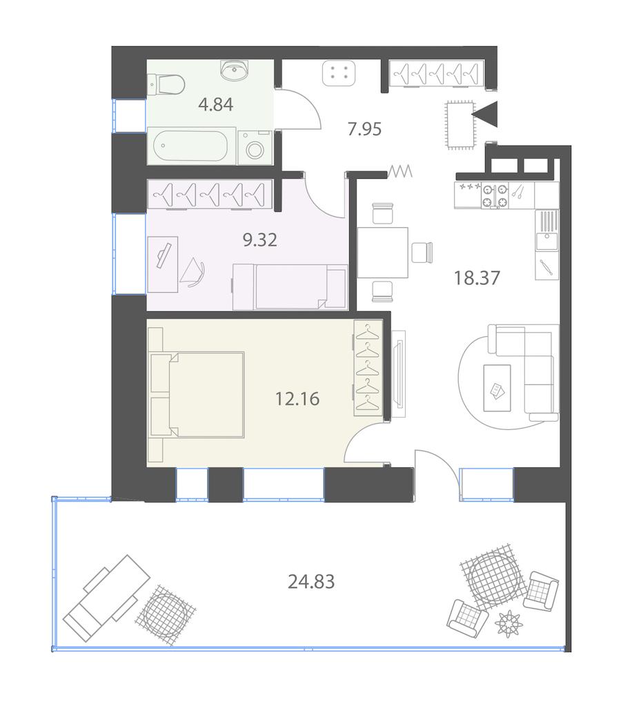 2-комнатная 60 м<sup>2</sup> на 1 этаже