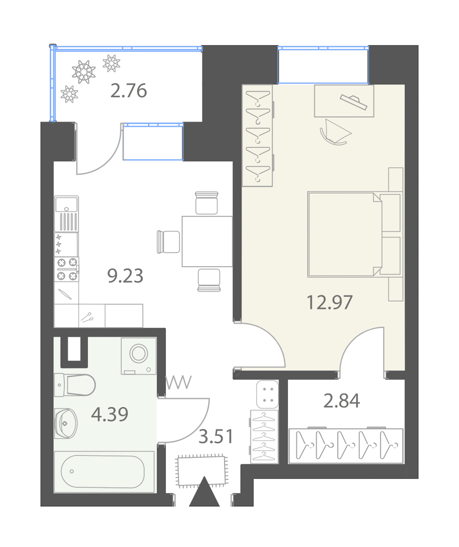 1-комнатная 34 м<sup>2</sup> на 3 этаже