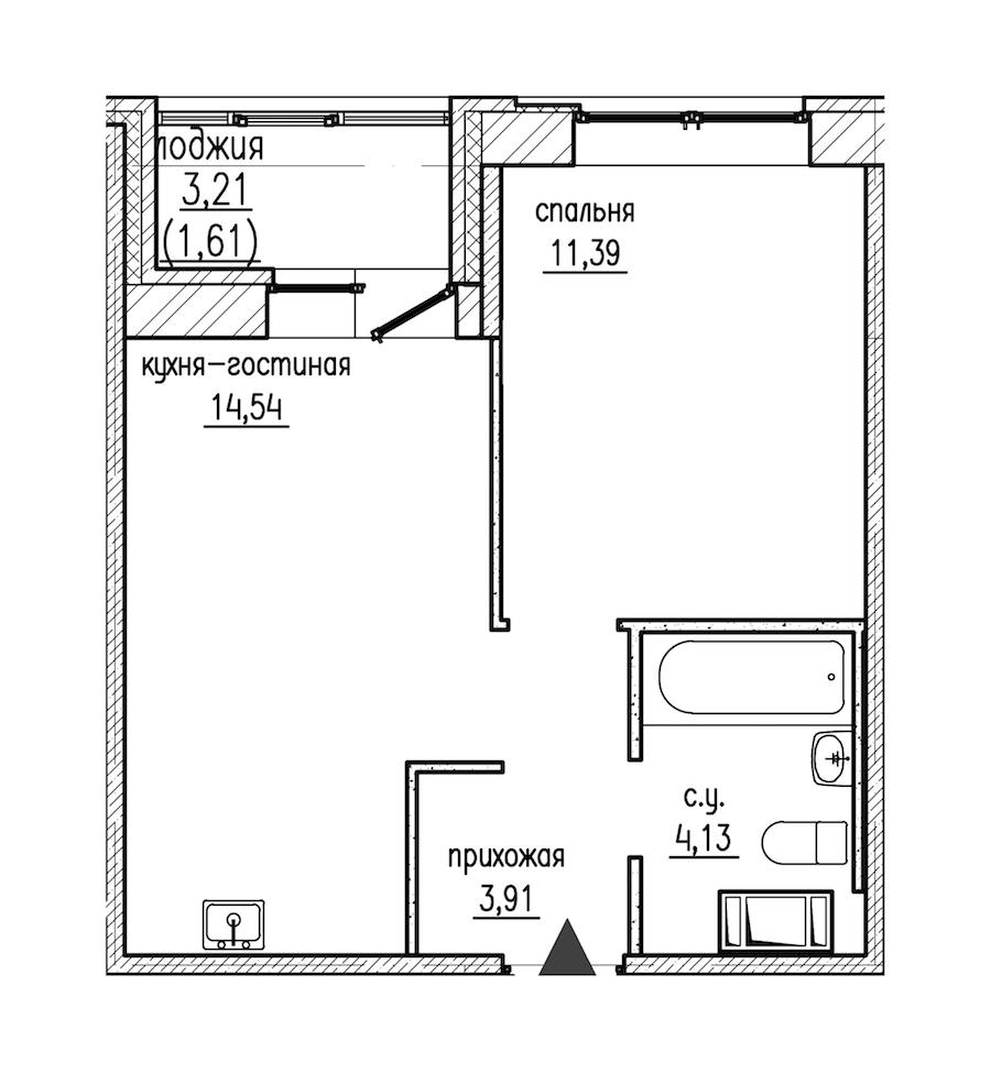 1-комнатная 35 м<sup>2</sup> на 9 этаже