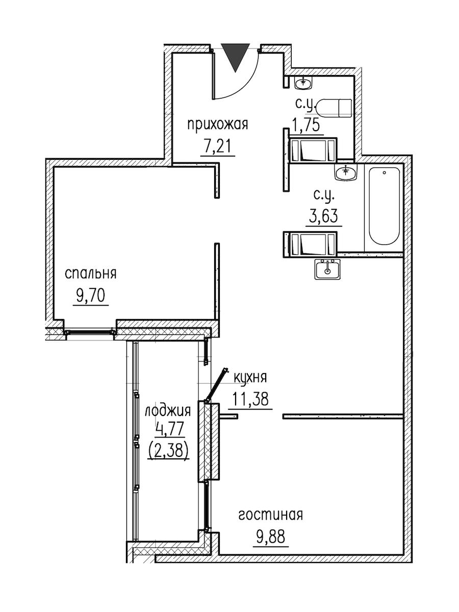 2-комнатная 45 м<sup>2</sup> на 2 этаже