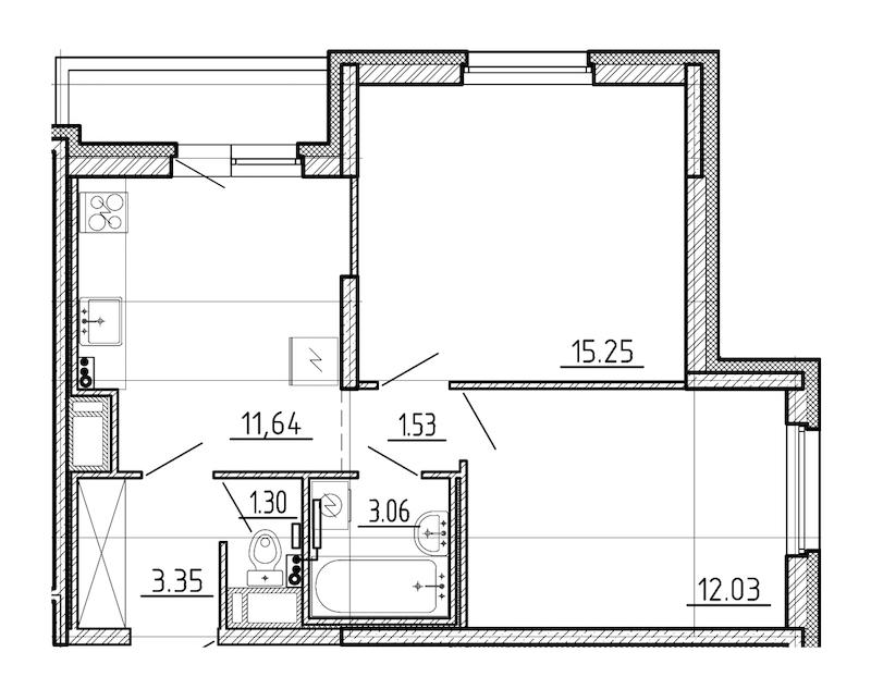 2-комнатная 49 м<sup>2</sup> на 13 этаже