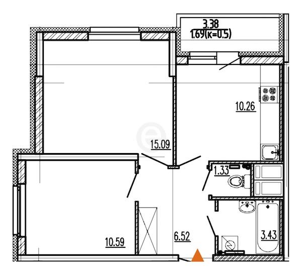 2-комнатная 48 м<sup>2</sup> на 16 этаже