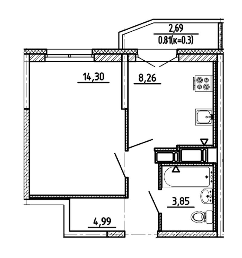 1-комнатная 32 м<sup>2</sup> на 15 этаже