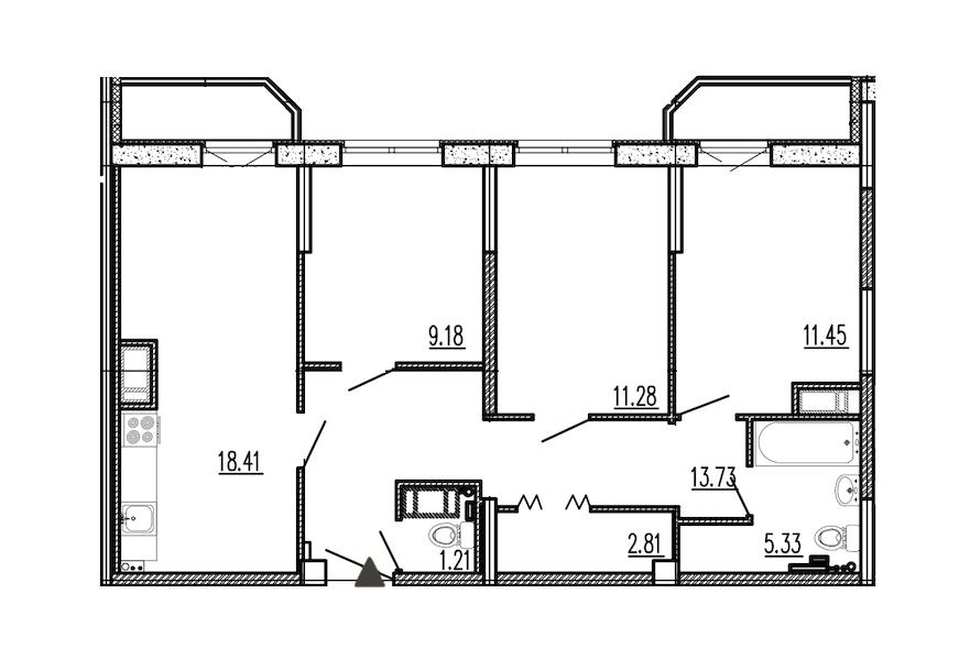 3-комнатная 75 м<sup>2</sup> на 7 этаже