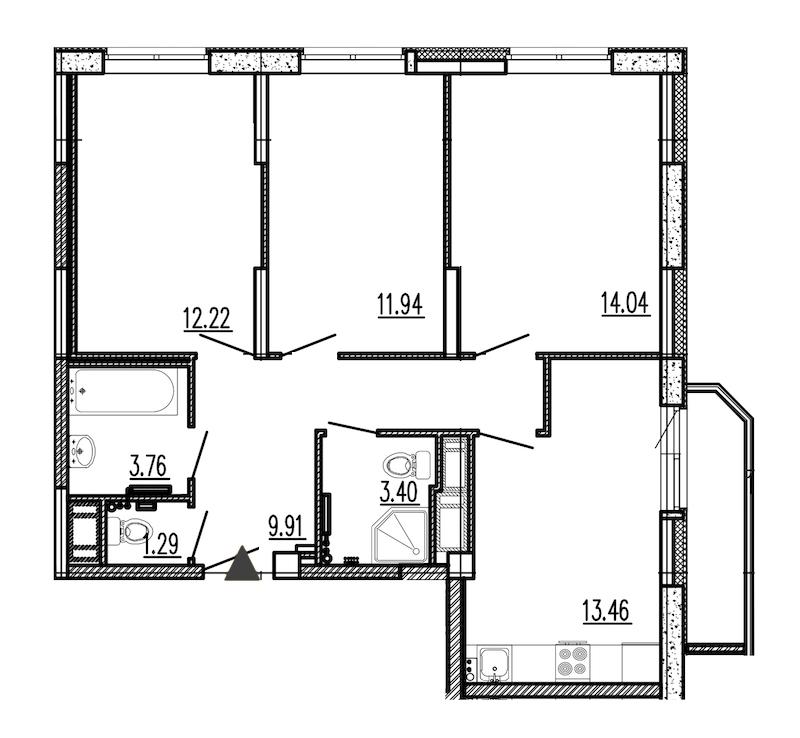3-комнатная 71 м<sup>2</sup> на 9 этаже