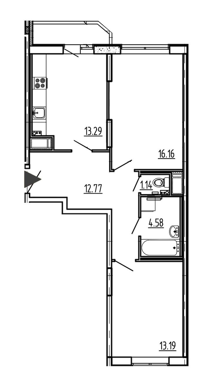 2-комнатная 62 м<sup>2</sup> на 10 этаже