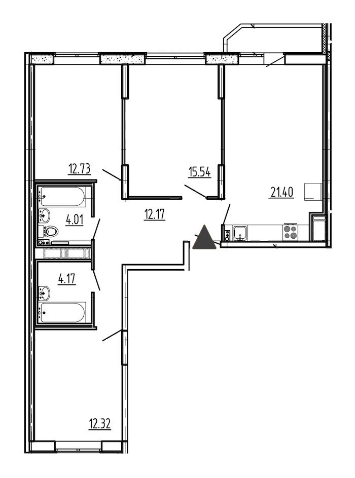 3-комнатная 83 м<sup>2</sup> на 9 этаже