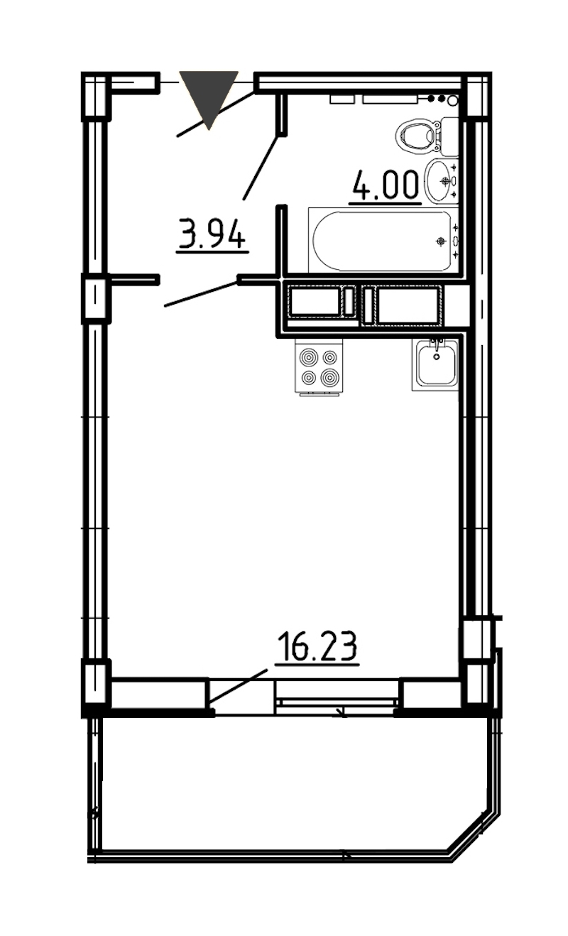 Студия 27 м<sup>2</sup> на 16 этаже