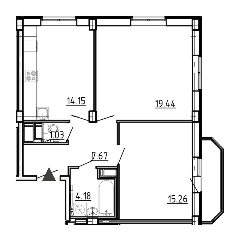 2-комнатная 62 м<sup>2</sup> на 17 этаже