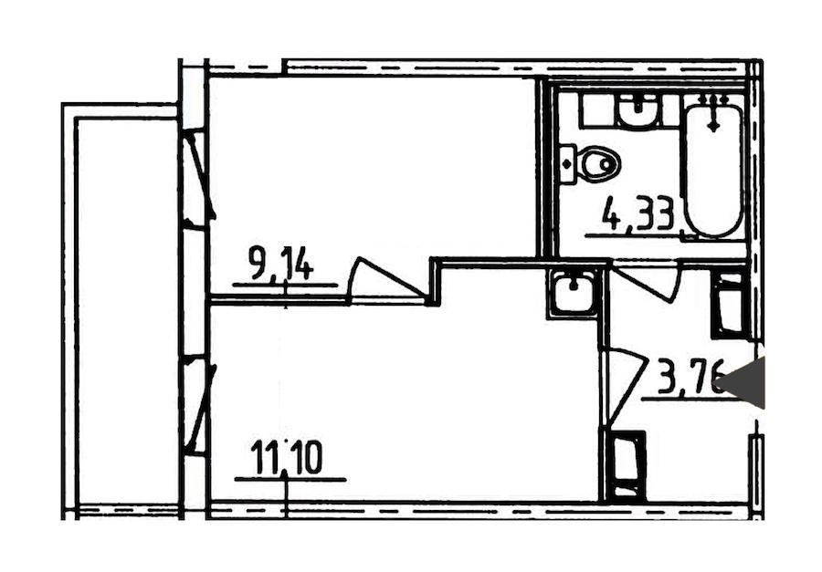 1-комнатная 29 м<sup>2</sup> на 4 этаже