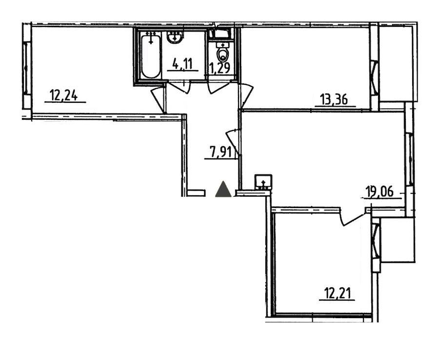 3-комнатная 72 м<sup>2</sup> на 9 этаже