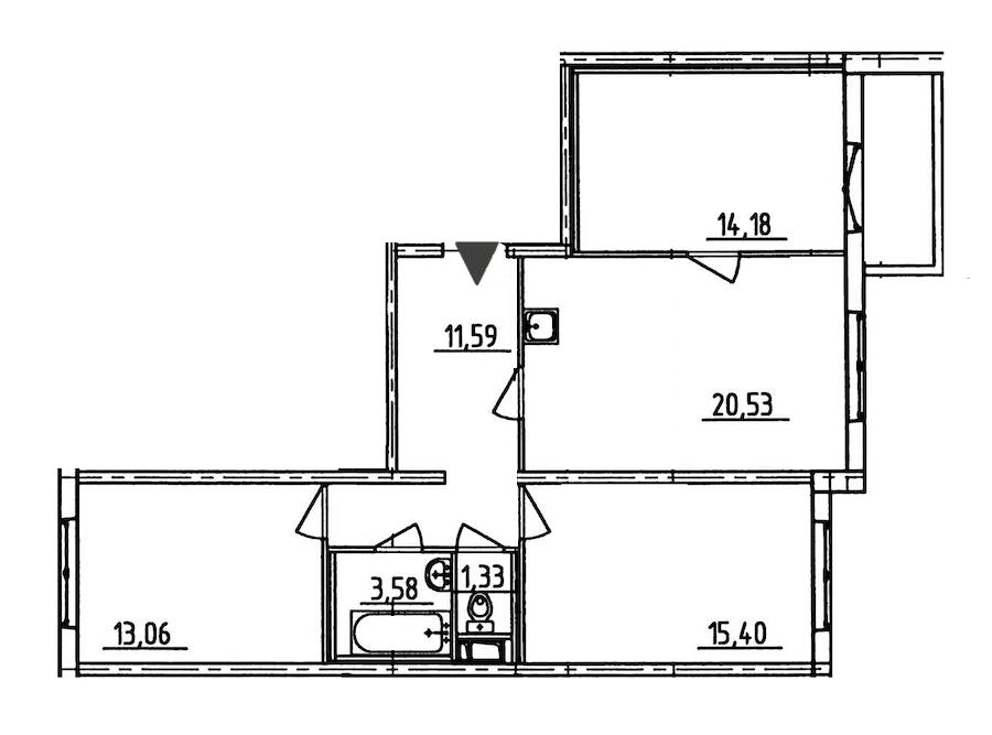 3-комнатная 81 м<sup>2</sup> на 7 этаже